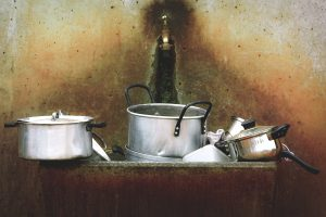 Kitchen utensils on washing station